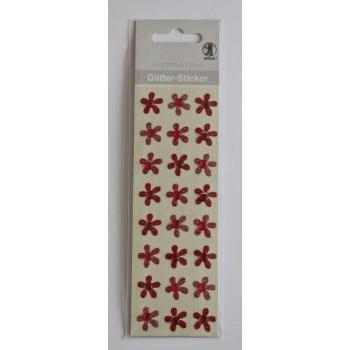 Glitter-Sticker Blüten rot,...