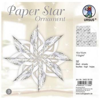 Papier-Sterne Ornament, silber